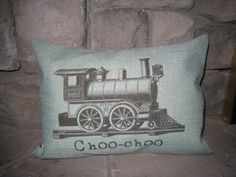 Blue Burlap Train choo choo pillow. $22.00, via Etsy.