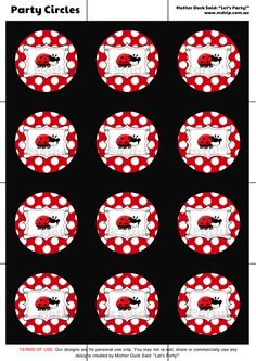 """Ladybug Party Cupcake Toppers Printable    Mother Duck Said: """"Lets Party!"""": Ladybug Party and Photo Birth Announcements Cards"""