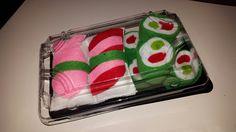 Sushi aus Filz als originelle Gutscheinverpackung und bestimmt auch was für die Kinderküche.