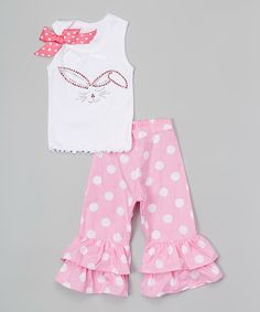 Another great find on #zulily! White & Pink Bunny Face Tank & Ruffle Pants - Toddler & Girls by Beary Basics #zulilyfinds