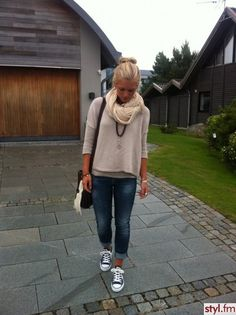 Knit layers, bf jeans and Converse.--casual weekend wear.