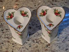 2 Vintage Royal Albert Old Country Roses Heart Candle Holders 1962 Bone China