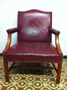 decoración vintage, antiguitats-baraturantic: sillón inglés rojo burdeos