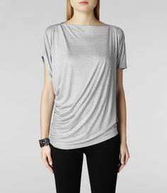 Womens Pia Jersey Top (Pale Grey) | ALLSAINTS.com