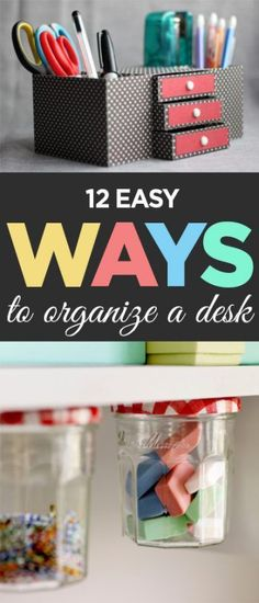 Desk organization, DIY desk organization, office organization, popular pin, office decor, DIY office organization, craft room, craft room inspiration.