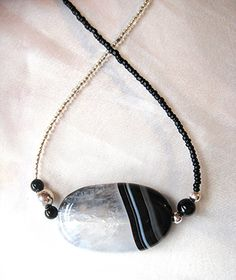 Black & white druzy geode necklace.  Raw crystal jewelry. Boho, Yin and Yang, zen style. by WildThingsAdornments
