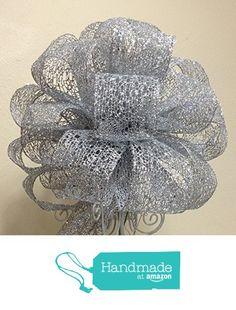 """Tree Topper Bow - Christmas Tree Topper - Large Silver Tree Top - Christmas Tree Topper - Handmade Bow - 13"""" in diameter x 9"""" high and 20"""" long streamers from Baskets From A To Z https://www.amazon.com/dp/B01B9ZOZ64/ref=hnd_sw_r_pi_dp_-m9gyb1S835G5 #handmadeatamazon"""