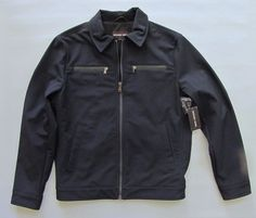 NWT Michael Kors Men's Softshell Jacket Medium Midnight Blue Polyester Coat 2015 #MichaelKors #BasicJacket