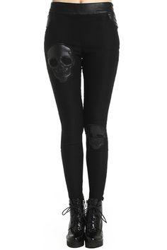 ROMWE Fake Leather Skull Black Leggings