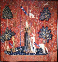 Touch: The Lady and the Unicorn Tapestry, 1500. Musee de Cluny, Paris. Heraldic display.