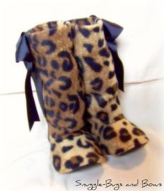 Leopard Boots by SnuggleBugsAndBows on Etsy, $23.00...if I ever have a baby girl, she could match her momma!