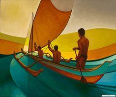 Original oil painting of canoe paddlers by artist Colin Redican. Masculine Art, Artistic Visions, Outrigger Canoe, Polynesian Art, Hawaiian Art, Famous Art, Surf Art, Art Festival, Photo Art
