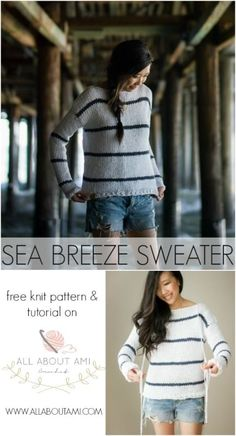 Free Sea Breeze Sweater Knit Pattern with multiple sizing options!