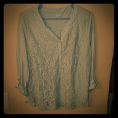 Lace Front Henley Blouse Beautiful lace front Henley from Apt.9, Mint Green color with incredible details. Only worn a couple of times. Apt. 9 Tops Blouses