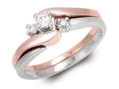1 Set Femmes Deux Tons Or Rose Cristal Blanc De Mariage Bagues De Fiançailles