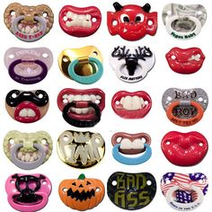 Billy Bob Pacifier collection!!!! My kid will have these kind of pacifiers haha