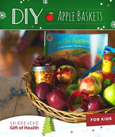 Fill a bright basket with colorful apples, crunchy crackers & other fun surprises. #DIYAppleGifts