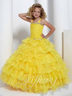 Wedding Dresses, Bridesmaid Dresses, Prom Dresses and Bridal Dresses Tiffany Princess Dresses - Style 13311 - Tiffany Princess Dresses, Fall Organza and tulle thick strap ball gown with full layered skirt.Discontinued Shown In: Sunflower Pagent Dresses For Kids, Cheap Pageant Dresses, Little Girl Pageant Dresses, Wedding Dresses For Kids, Gowns For Girls, Pageant Gowns, Girls Dresses, Flower Girl Dresses, Dresses 2014