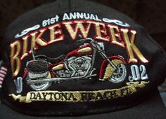 Daytona Beach Bike Week 2002 baseball hat Embroidered Black Cap Motorcycle