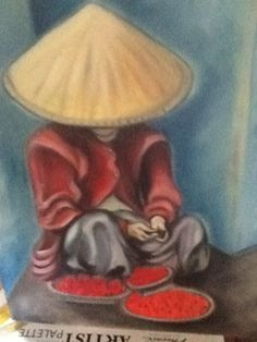 Vietnamese lady with plates of fruit for sale Oil on canvas