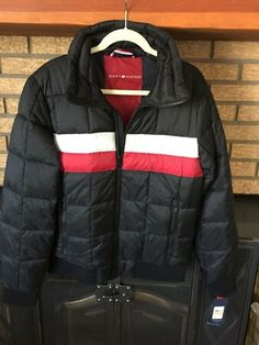 Tommy Hilfiger Mens Quilted Bomber Hoody Color Block