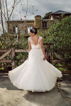 Lace V back bodice on the 'Jane' gown from Bertossi Brides at Paddington Weddings. Such a fun dancing dress! www.paddingtonweddings.com.au