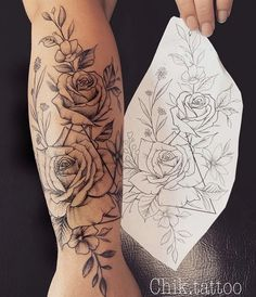 Do you also want a flower tattoo to show yourself? Check out the most beautiful flower tattoo we have prepared for you! We hope to give you the greatest inspiration. Forarm Tattoos, Rose Tattoos, Leg Tattoos, Body Art Tattoos, Tatoos, Zodiac Tattoos, Girl Tattoos, Best Sleeve Tattoos, Sleeve Tattoos For Women