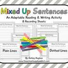 8 recording pages for the activity 'Mixed Up Sentences.'