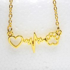 Cats and Dogs Paws and Heart Heartbeat Necklace