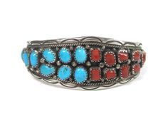 Vintage Navajo Turquoise and Coral Cuff by BejeweledEmporium