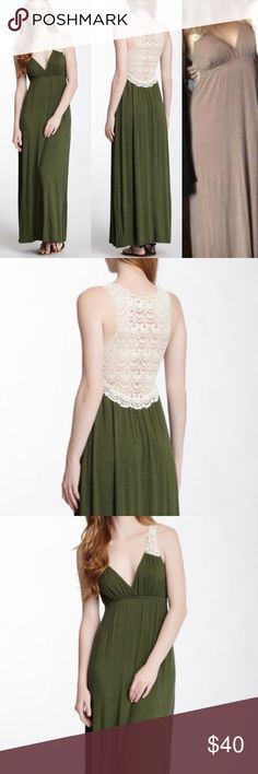 """✨Love...Ady Damask Tan Crocheted Back Maxi Dress✨ ✨Love...Ady Crochet Back Knit Maxi Dress✨ Small✨gently worn a few times no signs of wear✨ 12.5 xcross back smallest point✨ 16.5 xcross chest one side✨So soft and elegant✨  Details - V-neck - Sleeveless - Crochet strap and back detail - Elasticized waist - Approx. 58"""" length - Imported 95% rayon, 5% spandex Care Dry clean Additional Info Fit: this style fits true to size.  Red Head Green Dress Model's stats for sizing: - Height: 5'11"""" - Bust…"""