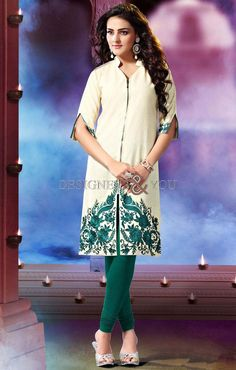 Stunning off white khadi cotton kurti which is ornamented with resham and embroidery work. This readymade Kurti comes in bust size 40 and 44 inches.Legging can be purchased additionally. They are not a part of this kurti. Short Kurtis, Designer Kurtis Online, Embroidered Kurti, Party Wear Kurtis, Indian Fashion, Womens Fashion, Kurta Designs, Off White Color, Sleeve Designs