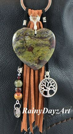 *** Ready To Ship!!! *** ~ Dragon Blood Jasper Heart Pendant Purse Charm / Car Mirror Charm ~ This beautiful purse charms focal point is a Dragon Blood Jasper stone heart shaped pendant. Dragon blood stone is from the quartz family. It is a healing stone that is said to help with