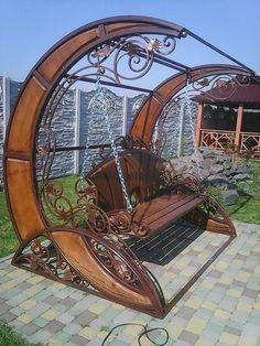 Victorian style swing seat by Sergiy Nekhin Unique Furniture, Garden Furniture, Furniture Online, Cheap Furniture, Urban Furniture, Street Furniture, Metal Furniture, Furniture Sale, Sofa Furniture