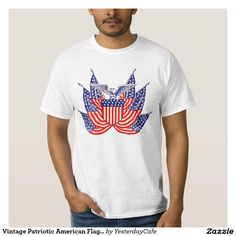 Vintage illustration proud patriotic Fourth of July holiday t-shirt design featuring an eagle holding a shield surrounded by six American Flags, the stars and stripes. Show your patriotism and pride for the United States of America with a symbol of freedom and our great nation. Perfect for celebrating our heroes on Veteran's Day, Memorial Day or Independence Day the 4th of July.