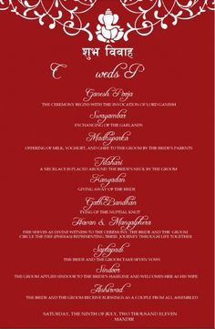 Fun version of hindu tamil iyengar wedding programme detailed red wedding program stopboris Gallery