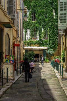 "Love the grey blue shhutters of France and the dark green ""hitching posts"" with red geraniums. (Aix-en-Provence, France)"