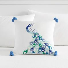 Lennon & Maisy Embroidered Peacock Pillow Cover