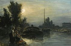 Johan Barthold Jongkind - Clair de lune sur la rivière, Hollande