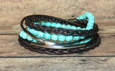 Turquoise & Dark Brown Leather Wrap Bracelet by DesignsByJen1,