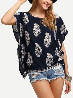 blouse manche courte motif fleuri -French SheIn(Sheinside)