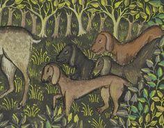 Hunting dogs, Gaston Phoebus, Livre de la Chasse, Brittany ca. 1430-1440. LA, Getty, Ms. 27, fol. 81v