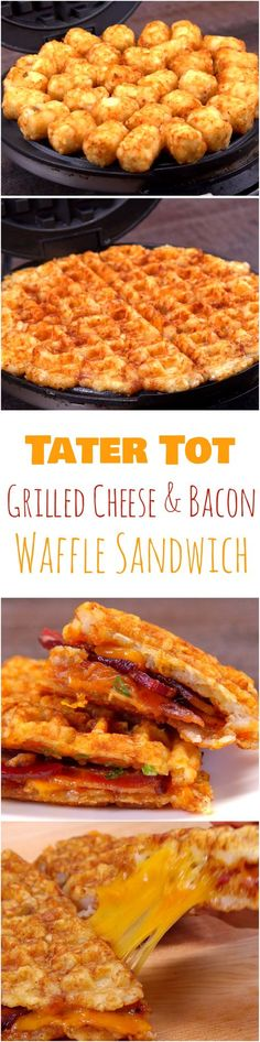 Tater Tot Grilled Cheese & Bacon Waffle Sandwich Recipe Why is this the most amazing grilled bacon and cheddar sandwich ever? Because instead of bread, we used waffles. But not just normal waffles — these are made out of tater tots. Tater Tots, I Love Food, Good Food, Yummy Food, Tasty, Bacon Waffles, Cheese Waffles, Waffle Maker Recipes, Burger Recipes