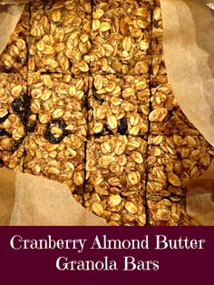 Cranberry Almond Butter Granola Bars #glutenfree #cleaneating