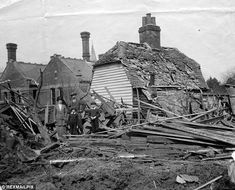 A Zeppelin raid on England during World War I destroyed this house in Maldon, Essex