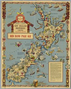 [Map of New Zealand history] Red Band Pale Ale! Nelson New Zealand, Map Of New Zealand, New Zealand Travel Guide, Vintage Maps, Vintage Travel Posters, Maori People, Nz Art, Map Illustrations, Flat Illustration