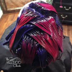 Heringbone .... Why not. As they say #joicointensity Results soon. @Joico Indigo Firey Coral  Magenta and Pink and @mandyboohair by shannonkeel
