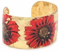 "EVOCATEUR ""The Gardens"" Red Gerber Daisy 22K Gold Leaf Cuff Bracelet EVOCATEUR. $275.99"