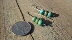 Turquoise Earrings Turquoise pebbles hung on by CopperTreeArt, $30.00