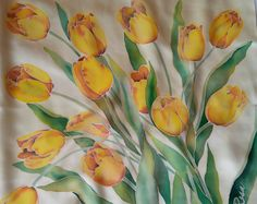floral silk scarf square Yellow tulips hand painted gift for women, Spring scarves personalized scarf, gift for mother Spring Scarves, Yellow Tulips, Painted Clothes, Floral Scarf, Paint Designs, Fabric Painting, Silk Scarves, Mother Gifts, Gifts For Women
